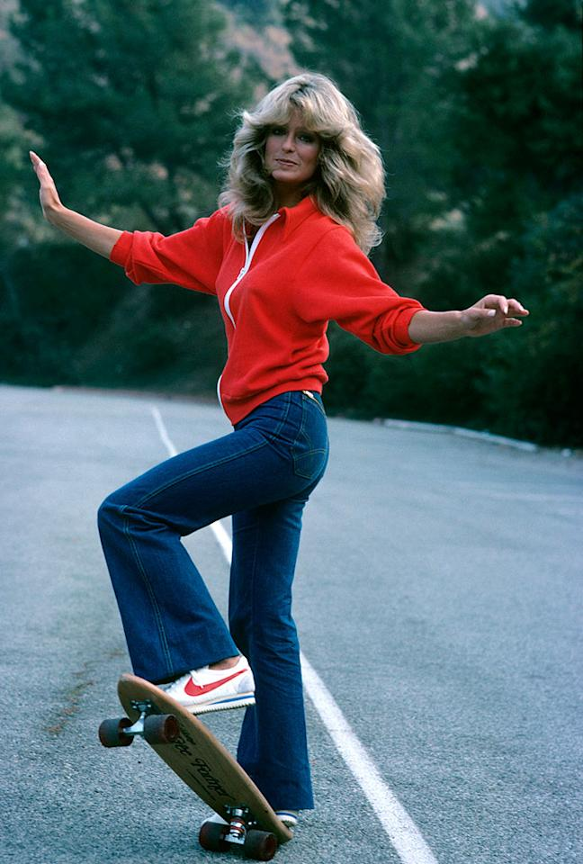 """<b>Farrah Fawcett in """"Charlie's Angels,"""" 1976:</b> A Jordache-clad Farrah Fawcett hopped on a skateboard (and showed off her enviable assets) for an episode of her hit detective series. The reason for her sporty attire? She was rolling away from danger, naturally!   <b><a href=""""http://news.instyle.com/photo-gallery/?postgallery=23869&xid=omg-original-supermodels?yahoo=yes"""" target=""""new"""">The Original Supermodels: Then and Now</a></b> AMERICAN BROADCASTING COMPANIES/<a href=""""http://www.gettyimages.com/"""" target=""""new"""">GettyImages.com</a> - 1976"""