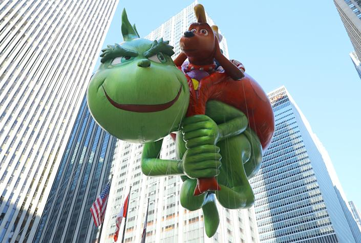 The Grinch balloon will attempt to steal some holiday cheer in his first-ever appearance in the 91st Macy's Thanksgiving Day Parade in New York, Nov. 23, 2017. (Photo: Gordon Donovan/Yahoo News)
