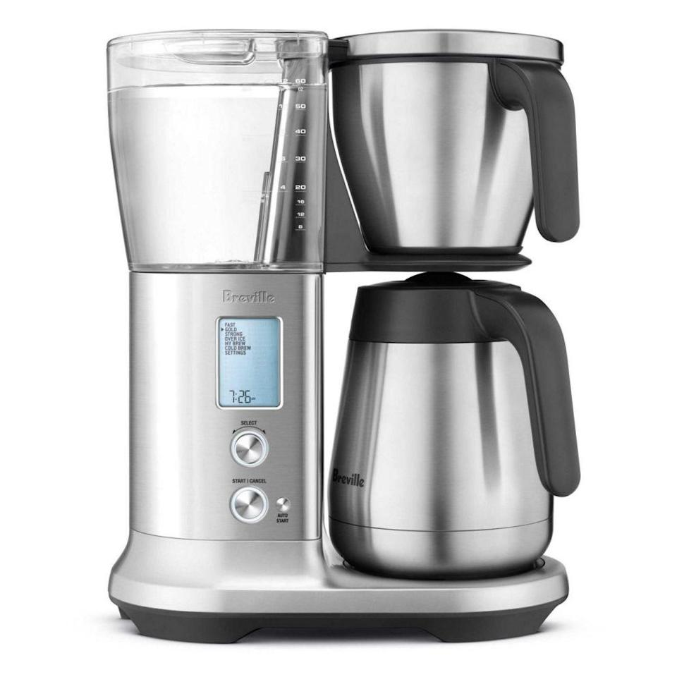 """<p><strong>Breville</strong></p><p>breville.com</p><p><strong>$299.95</strong></p><p><a href=""""https://go.redirectingat.com?id=74968X1596630&url=https%3A%2F%2Fwww.breville.com%2Fus%2Fen%2Fproducts%2Fcoffee%2Fbdc450.html&sref=https%3A%2F%2Fwww.goodhousekeeping.com%2Fholidays%2Fgift-ideas%2Fg29250426%2Fgifts-for-coffee-lovers%2F"""" rel=""""nofollow noopener"""" target=""""_blank"""" data-ylk=""""slk:Shop Now"""" class=""""link rapid-noclick-resp"""">Shop Now</a></p><p>Our best overall coffee maker in testing, the Breville Precision Brew is a sleek and stylish option for the coffee fan who likes the convenience of classic drip coffee.</p><p><strong>RELATED:</strong> <a href=""""https://www.goodhousekeeping.com/appliances/coffee-maker-reviews/g2083/top-rated-coffeemakers/"""" rel=""""nofollow noopener"""" target=""""_blank"""" data-ylk=""""slk:12 Best Coffee Makers of 2021"""" class=""""link rapid-noclick-resp"""">12 Best Coffee Makers of 2021</a></p>"""
