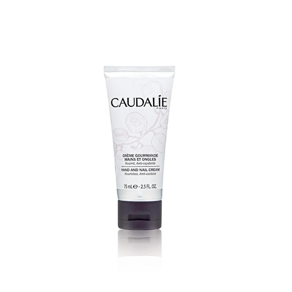 """Ashiness is truly the bane of my existence—especially if it's my hands that are dry. That's why I keep a small travel-size tube of Caudalie's hand and nail cream in my bag. The nourishing grapeseed and avocado oils leave behind a thoroughly moisturized feeling, without a greasy residue. —<em>Brionna Jimerson, social media manager</em> $15, Sephora. <a href=""""https://www.sephora.com/product/hand-and-nail-cream-P152203"""" rel=""""nofollow noopener"""" target=""""_blank"""" data-ylk=""""slk:Get it now!"""" class=""""link rapid-noclick-resp"""">Get it now!</a>"""