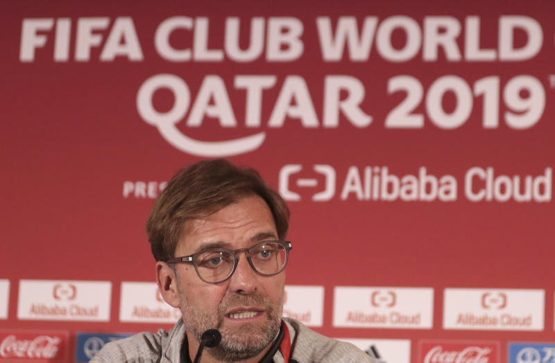 Liverpool's manager Jurgen Klopp speaks during a press conference in Doha, Qatar, Tuesday, Dec. 17, 2019. Liverpool will play the Club World Cup semifinal soccer match against Monterrey in Doha on December 18. (AP Photo/Hassan Ammar)