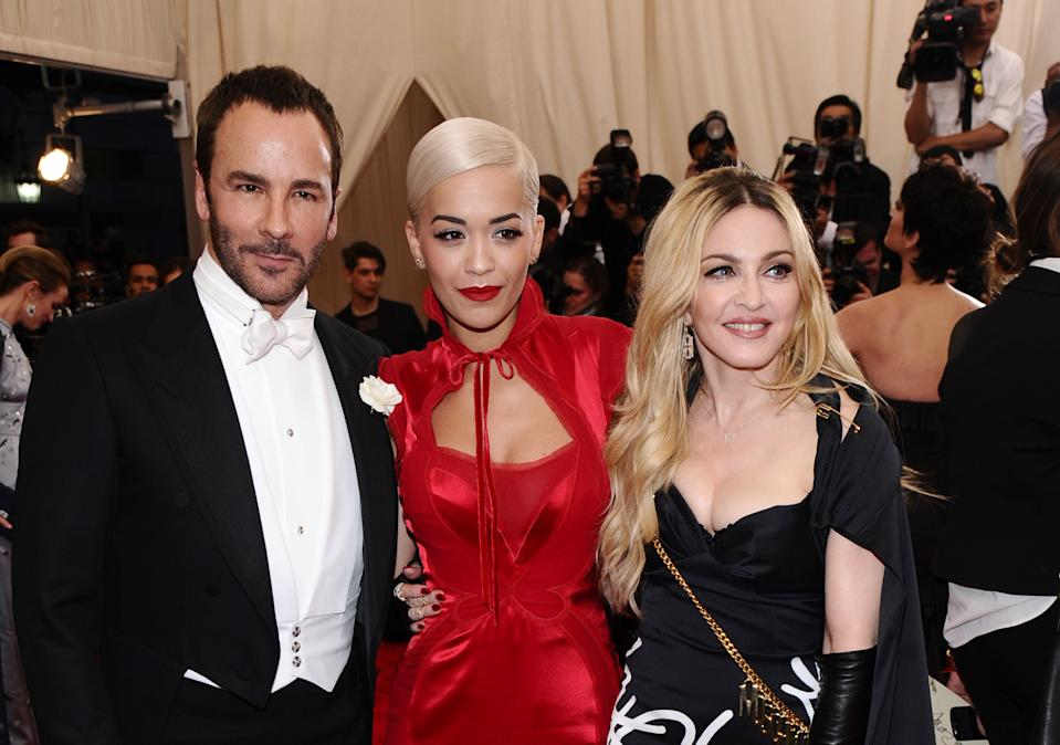 Tom Ford, from left, Rita Ora and Madonna arrive at The Metropolitan Museum of Art's Costume Institute benefit gala celebrating