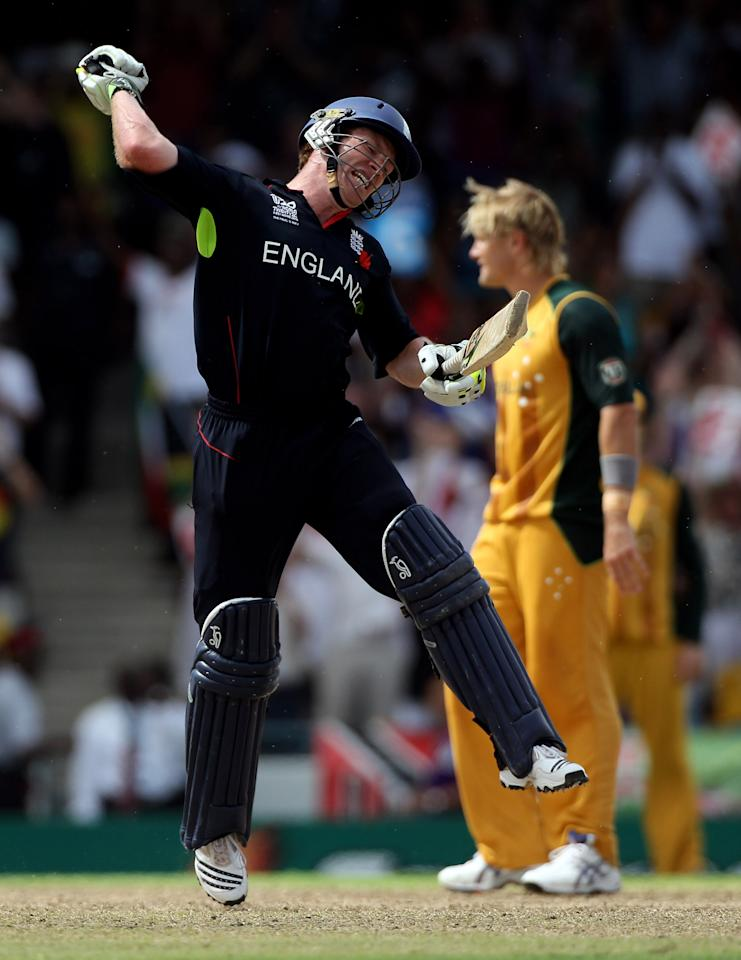 BRIDGETOWN, BARBADOS - MAY 16:  Eoin Morgan of England celebrates victory in the final of the ICC World Twenty20 between Australia and England played at the Kensington Oval on May 16, 2010 in Bridgetown, Barbados.  (Photo by Julian Herbert/Getty Images)