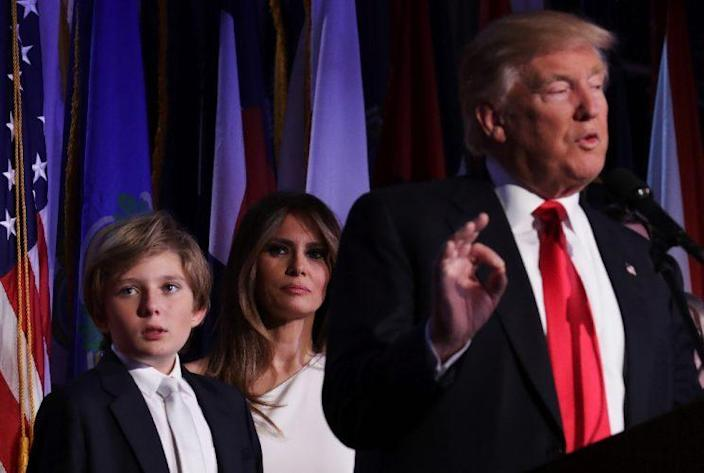 Melania Trump and son, Barron, watch as President-elect Donald Trump delivers a victory speech on election night. (Photo: Chip Somodevilla/Getty Images)