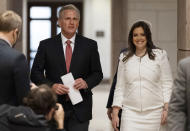 House Minority Leader Kevin McCarthy of Calif., left, and Rep. Elise Stefanik, R-N.Y., walk to speak with reporters on Capitol Hill Friday, May 14, 2021, in Washington. Republicans have vaulted Rep. Elise Stefanik into the ranks of House leadership. The upstate New York Republican was elected to the party's No. 3 post on Friday. (AP Photo/Alex Brandon)