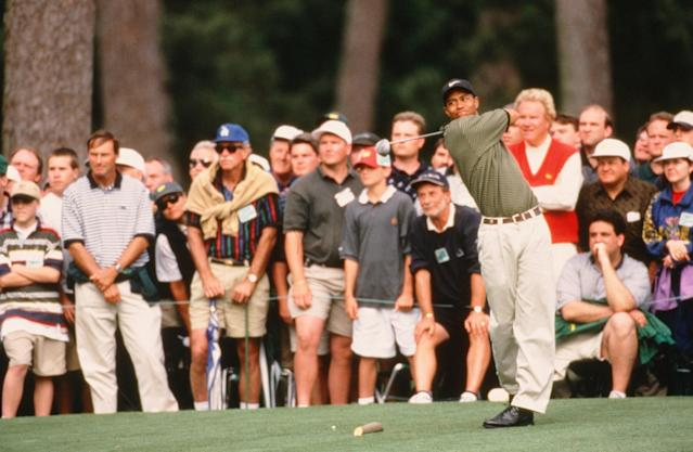 "<h1 class=""title"">Tiger Woods Tees Off On The 15th Hole During The 1997 Masters Tournament</h1> <div class=""caption""> Tiger Woods tees off on the 15th hole during the 1997 Masters. </div> <cite class=""credit"">Augusta National</cite>"