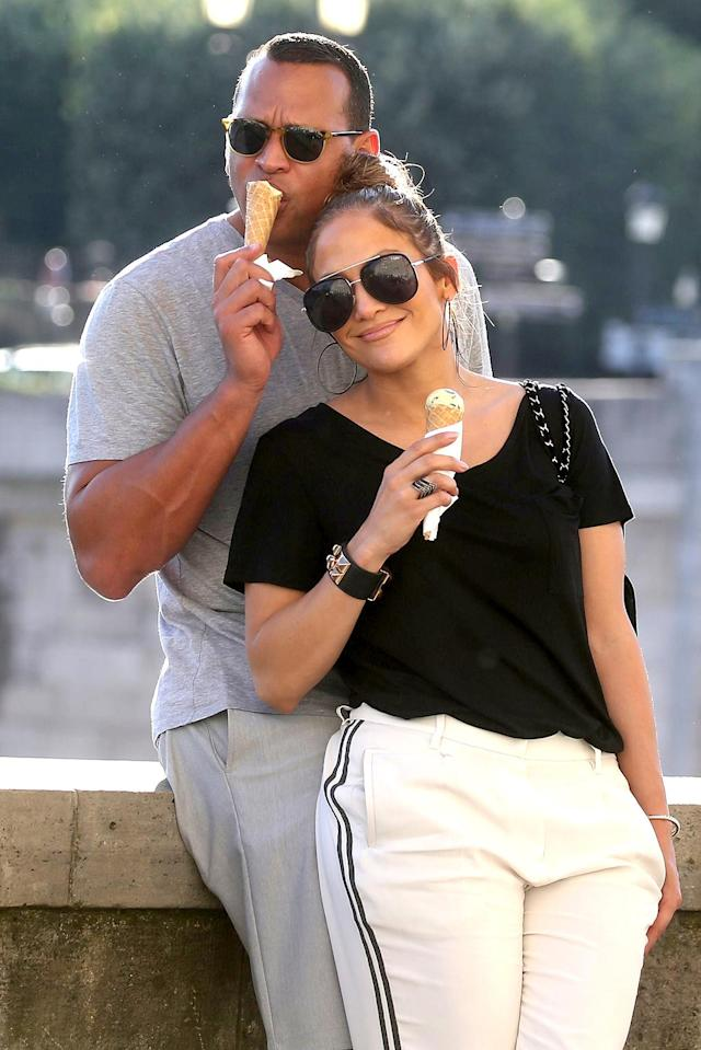 <p>When in Paris, indulge in an ice cream, non? Lovey-dovey couple Lopez and Rodriguez enjoyed a cone, as well as shopping and sightseeing during a weekend trip to the City of Light. (Photo: Best Image/BACKGRID) </p>