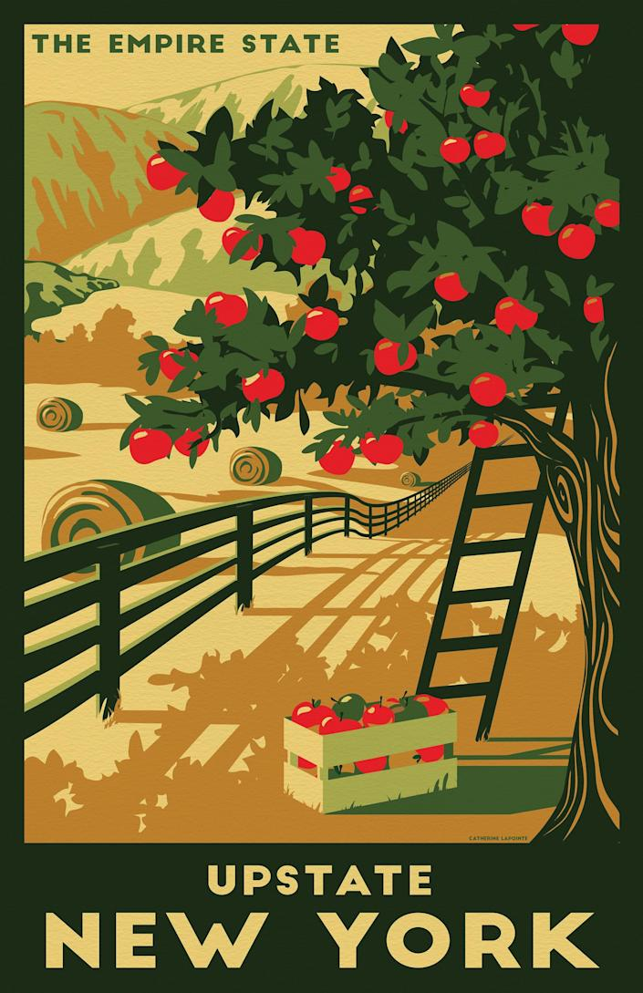 A travel poster of upstate New York by Catherine LaPointe Vollmer.