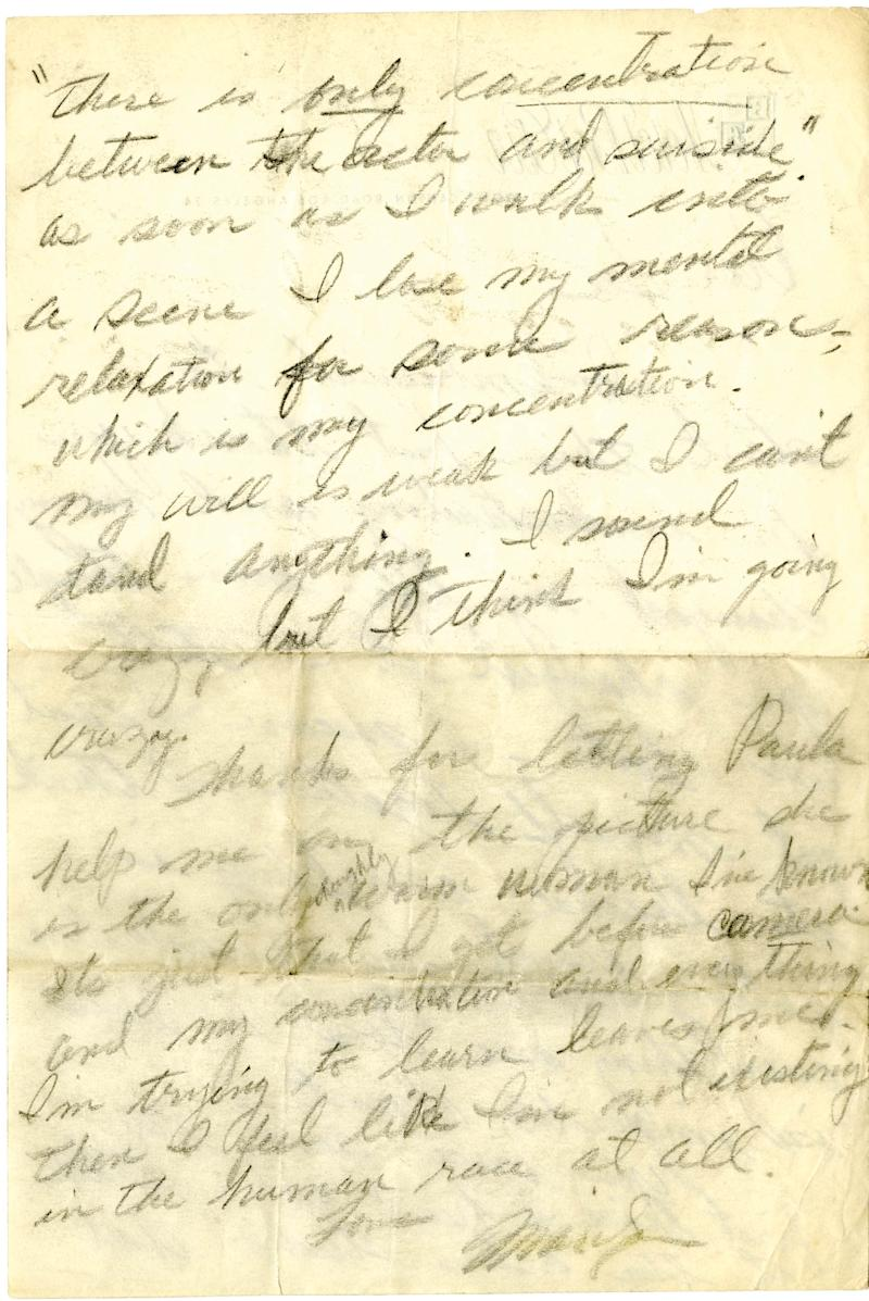 In this undated photo provided by Profile in History, the second page of a handwritten letter from Marilyn Monroe which expresses suicidal thoughts to her mentor, Lee Strasberg, is shown. The letter is among a collection of historical documents to be sold at an online auction by Profiles in History on Wednesday, May 8, 2013. (AP Photo/Profiles in History)
