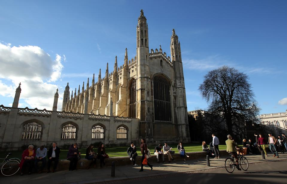 General view Kings college chapel in Cambridge city centre.