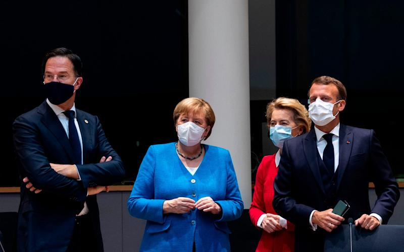 From left: Mark Rutte with Angela Merkel, Ursula von der Leyen, the president of the European Commission, and Mr Macron at the summit. - AFP