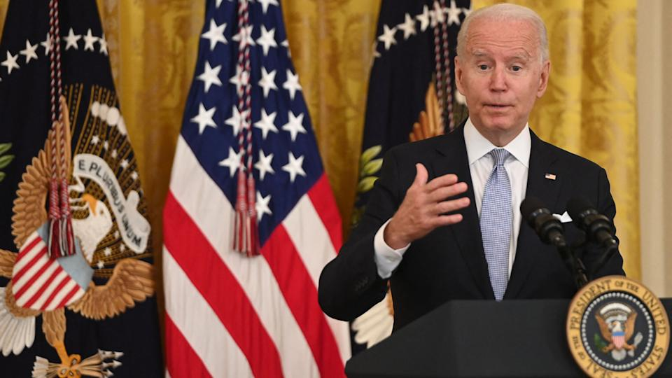 US President Joe Biden speaks about Covid vaccinations in the East Room of the White House in Washington, DC, July 29, 2021. (Saul Loeb/AFP via Getty Images)
