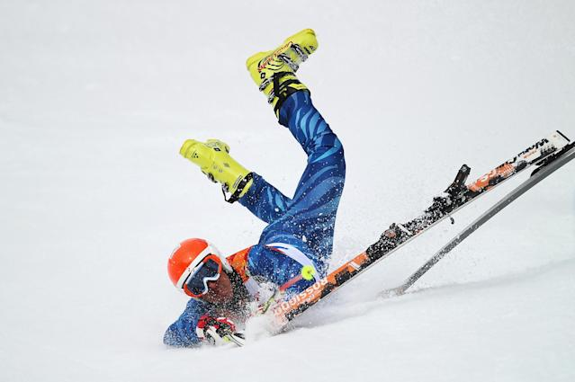 SOCHI, RUSSIA - FEBRUARY 19: Antonio Jose Pardo Andretta of Venezuela falls during the Alpine Skiing Men's Giant Slalom on day 12 of the Sochi 2014 Winter Olympics at Rosa Khutor Alpine Center on February 19, 2014 in Sochi, Russia. (Photo by Clive Rose/Getty Images)