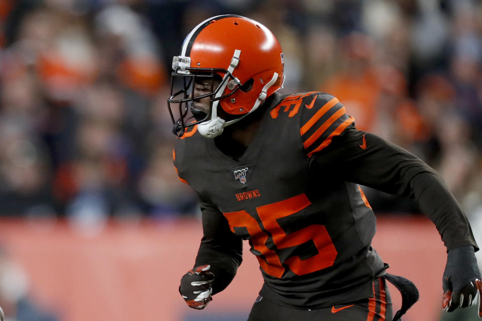 Released by the Cleveland Browns on Monday after a series of profane tweets, Jermaine Whitehead apologized on Tuesday. (AP/David Zalubowski)