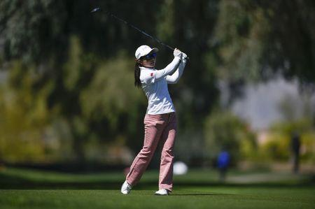 Mar 29, 2018; Rancho Mirage, CA, USA; Ayako Uehara attempts a shot on the 18th hole during the first round of the ANA Inspiration women's golf tournament at Mission Hills CC - Dinah Shore Tournament Course. Mandatory Credit: Kelvin Kuo-USA TODAY Sports