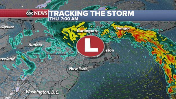 PHOTO: Tracking the storm through Thursday morning weather map. (ABC News)