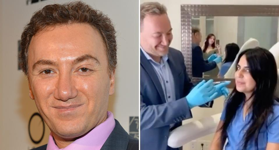 Dr Payman Simoni (left) and a shot from his instagram performing lip fillers (right)