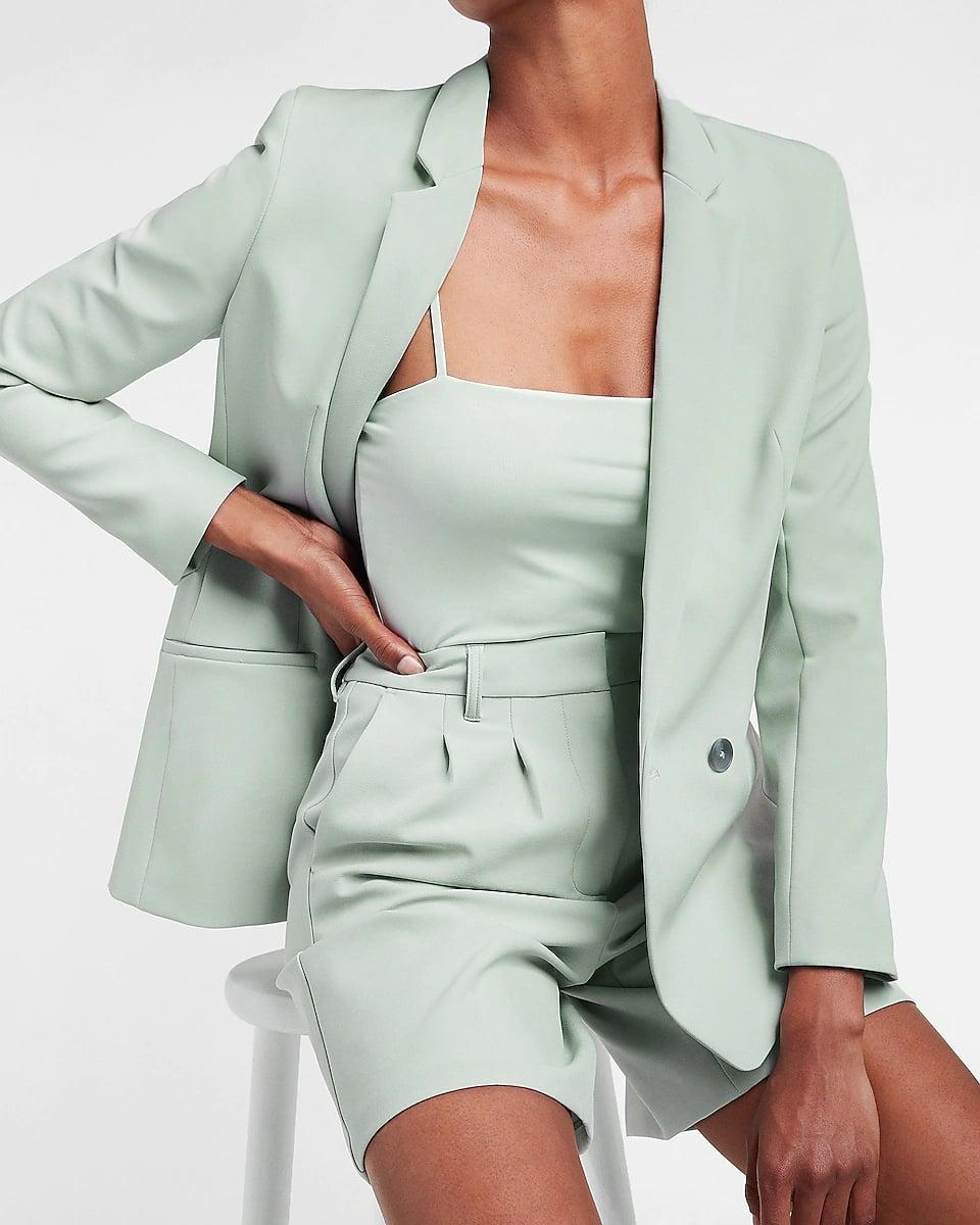 <p>This <span>Express Supersoft Twill Double Breasted Blazer</span> ($138) will look great with matching shorts and a tee for the ultimate monochrome outfit.</p>