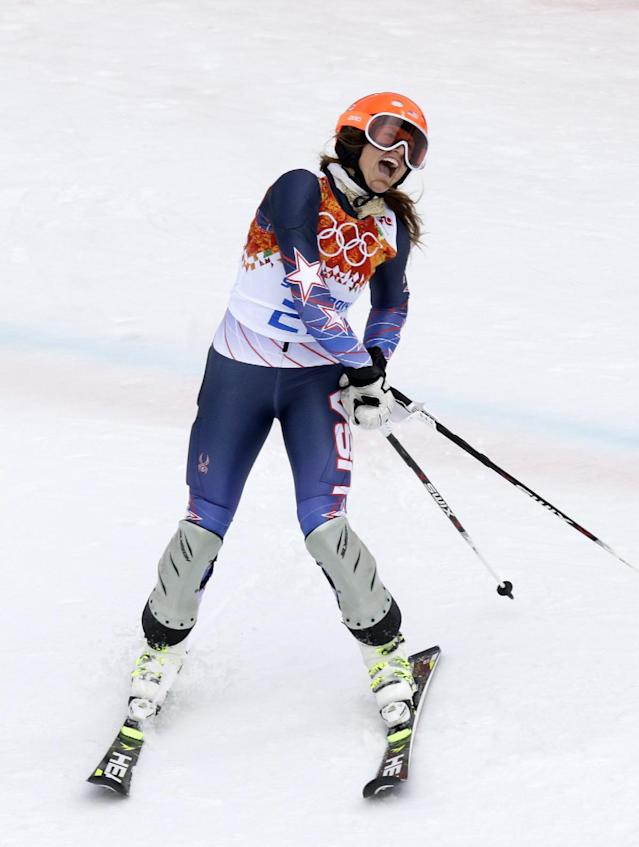United States' Julia Mancuso celebrates as finishes the slalom portion of the women's supercombined to win the bronze medal at the Sochi 2014 Winter Olympics, Monday, Feb. 10, 2014, in Krasnaya Polyana, Russia. (AP Photo/Luca Bruno)