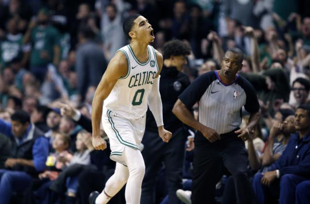 Rookie Jayson Tatum stepped it up in the absence of the Celtics leaders. (AP Photo/Michael Dwyer)