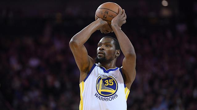 "<p>Kevin Durant will be sidelined at least two weeks after an MRI Friday revealed an incomplete rib cartilage fracture, the team <a href=""https://twitter.com/WarriorsPR/status/974818495945785345"" rel=""nofollow noopener"" target=""_blank"" data-ylk=""slk:announced"" class=""link rapid-noclick-resp"">announced</a>. </p><p>Durant will be re-evaluated after two weeks. </p><p>He is averaging 26.6 points, 6.8 rebounds and 5.4 assists per game this season.</p><p>The injury is the latest to the Warriors star lineup. </p><p>Stephen Curry is sidelined until his re-evalution March 20 after he tweaked right ankle.</p><p>Klay Thomson is out with a fractured right thumb. He'll be re-evaluated March 22.</p><p>The Warriors are 52–16.</p>"