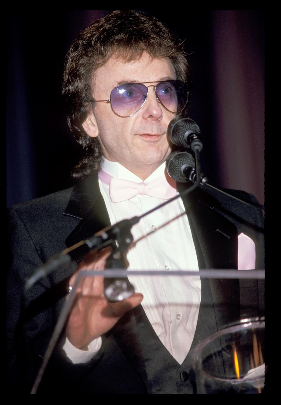Phil Spector photographed during the Rock and Roll Hall of Fame induction ceremony in 1989. (Photo by KMazur/WireImage)