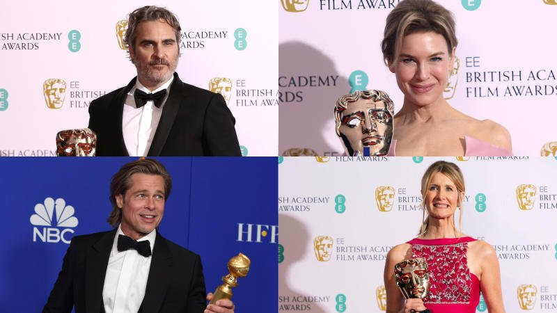 Joaquin Phoenix, Renée Zellweger, Laura Dern and Brad Pitt are Oscars frontrunners. (Credit: Joel C Ryan/Invision/Chris Pizzello/AP)