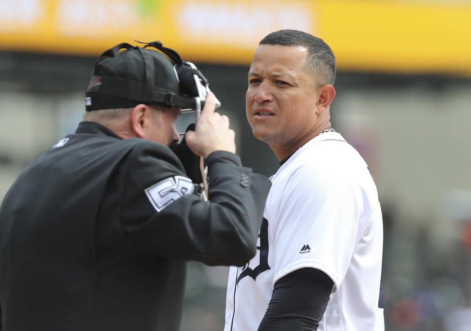 Detroit Tigers first baseman Miguel Cabrera looks towards umpire Mike Everitt after getting called out to end the second inning of a baseball game against the Pittsburgh Pirates, Friday, March 30, 2018, in Detroit. (AP Photo/Carlos Osorio)