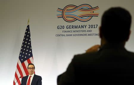 U.S. Treasury Secretary Steve Mnuchin addresses a news conference at the G20 Finance Ministers and Central Bank Governors Meeting in Baden-Baden