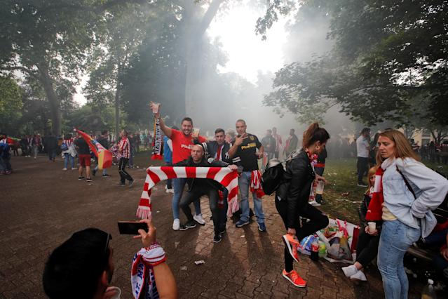 Soccer Football - Europa League Final - Olympique de Marseille vs Atletico Madrid - Lyon, France - May 16, 2018 Atletico Madrid fans in Lyon before the match REUTERS/Denis Balibouse