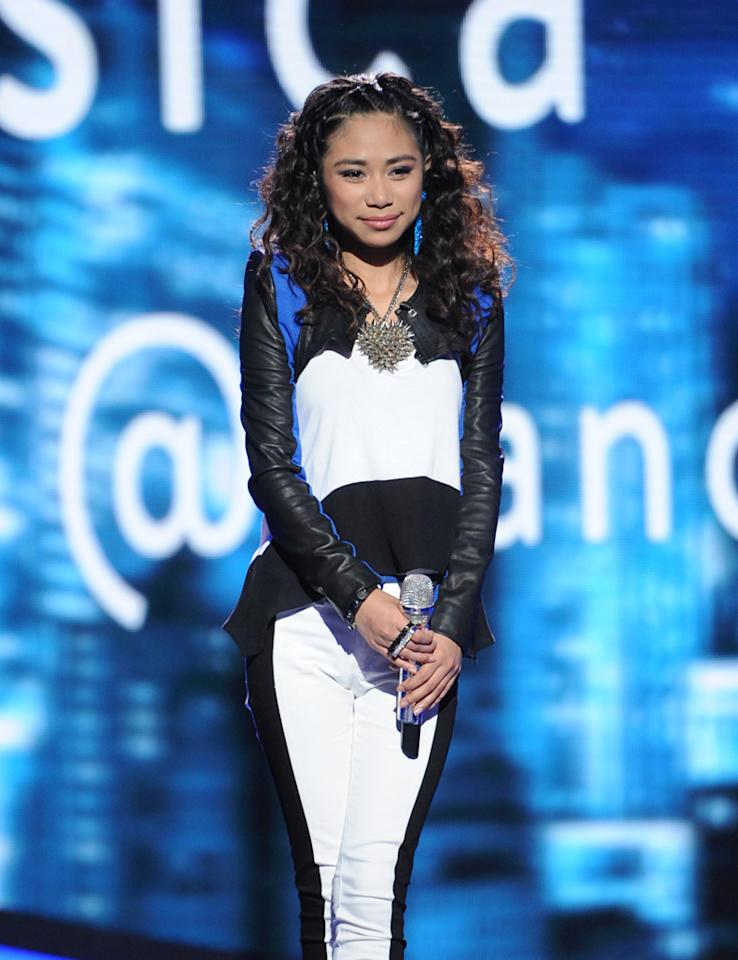 "Jessica Sanchez performs ""Steal Away"" by Jimmy Hughes on ""<a target=""_blank"" href=""http://tv.yahoo.com/american-idol/show/34934"">American Idol</a>."""