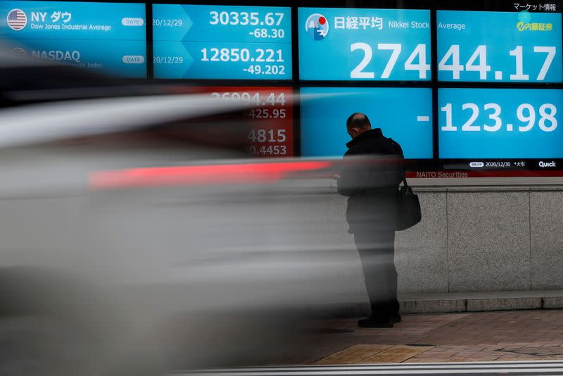 FILE PHOTO: Screen displays Nikkei share average and stock indexes outside a brokerage in Tokyo