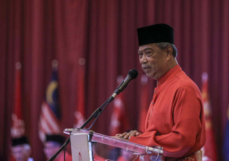 Parti Pribumi Bersatu Malaysia (PPBM) president Tan Sri Muhyiddin Yassin speaks during Bersatu special assembly, at Malaysia Exposition Park Serdang (MAEPS), Serdang July 20, 2019. — Picture by Firdaus Latif