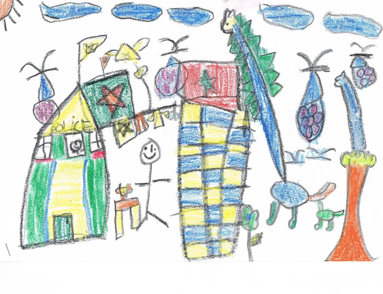 Tay Zhang Qing, 5, presents a picture of himself playing amongst his favourite toys – dinosaurs. (My First Skool – Guillemard Crescent)
