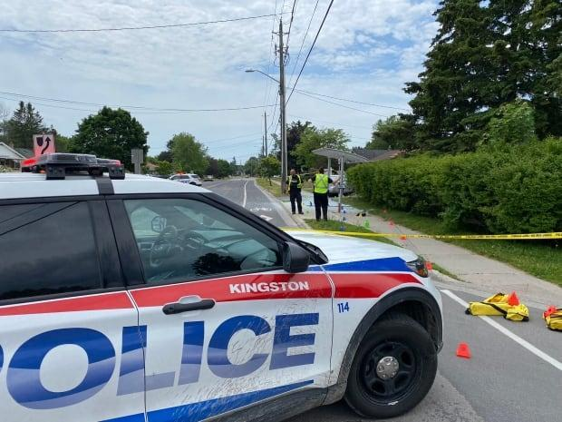 Police in Kingston, Ont., investigate an apparent vehicle crash that led to a man allegedly shooting a firearm on June 5, 2021. The man fled the scene and as of mid-afternoon had not yet been located. (Kingston Police - image credit)