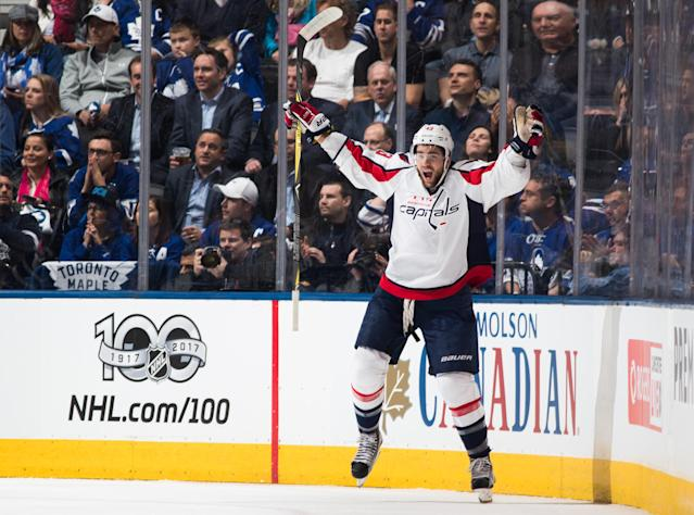 """<a class=""""link rapid-noclick-resp"""" href=""""/nhl/teams/was/"""" data-ylk=""""slk:Washington Capitals"""">Washington Capitals</a> forward <a class=""""link rapid-noclick-resp"""" href=""""/nhl/players/5696/"""" data-ylk=""""slk:Tom Wilson"""">Tom Wilson</a> hasn't worn out his welcome in Toronto despite starring versus the Toronto Maple Leafs. (Mark Blinch/Getty Images)"""