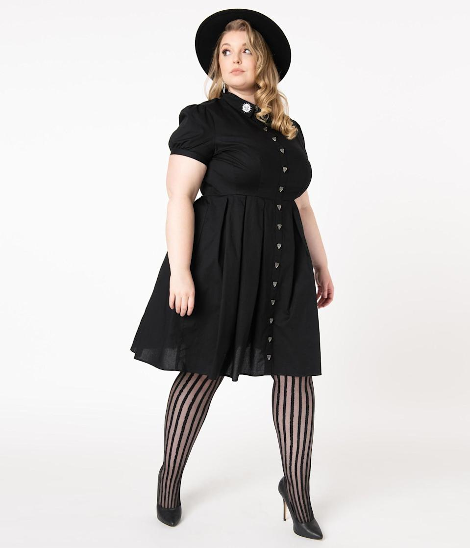 <p>You'll look like the cat's meow in this <span>Hell Bunny Plus Size Black Velvet Nova Fit and Flare Dress</span> ($98). </p>