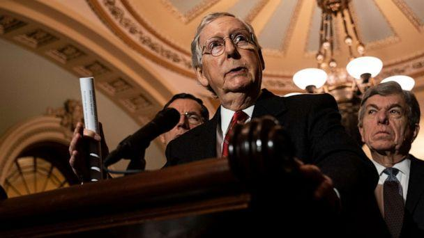 PHOTO: Senate Majority Leader Mitch McConnell speaks during his weekly press conference at the U.S. Capitol on November 19, 2019 in Washington, DC. (Alex Edelman/Getty Images)