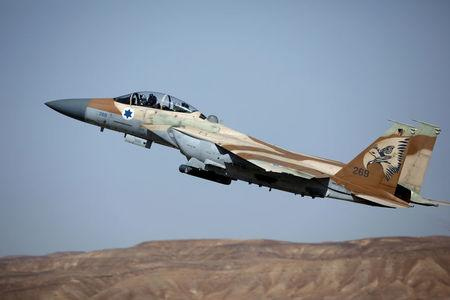 """FILE PHOTO: IAF F-15 fighter jet takes off during exercise dubbed """" Juniper Falcon"""", held between crews from the U.S and Israeli air forces, at Ovda military airbase"""