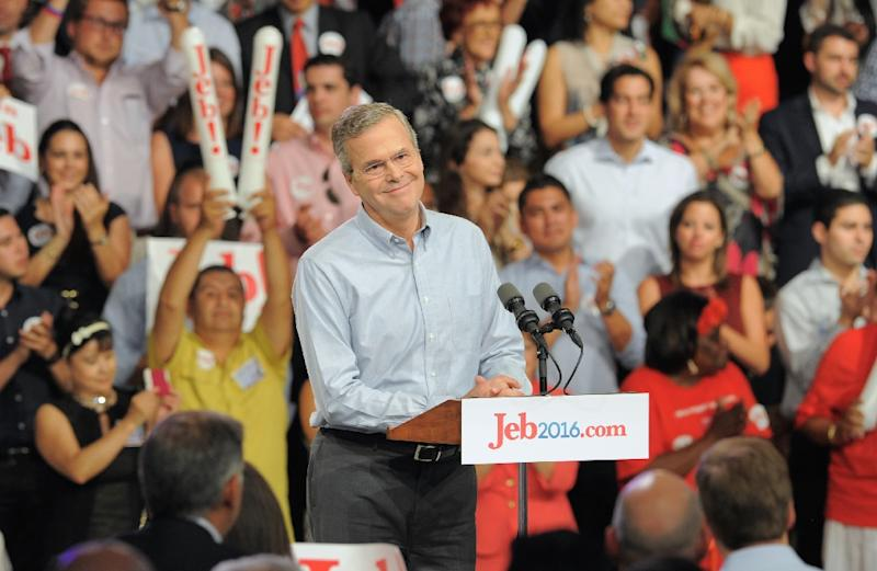 Scott Walker is currently polling in second place behind former Florida governor Jeb Bush (pictured) across a range of surveys, according to RealClearPolitics.com (AFP Photo/Andrew Patron)