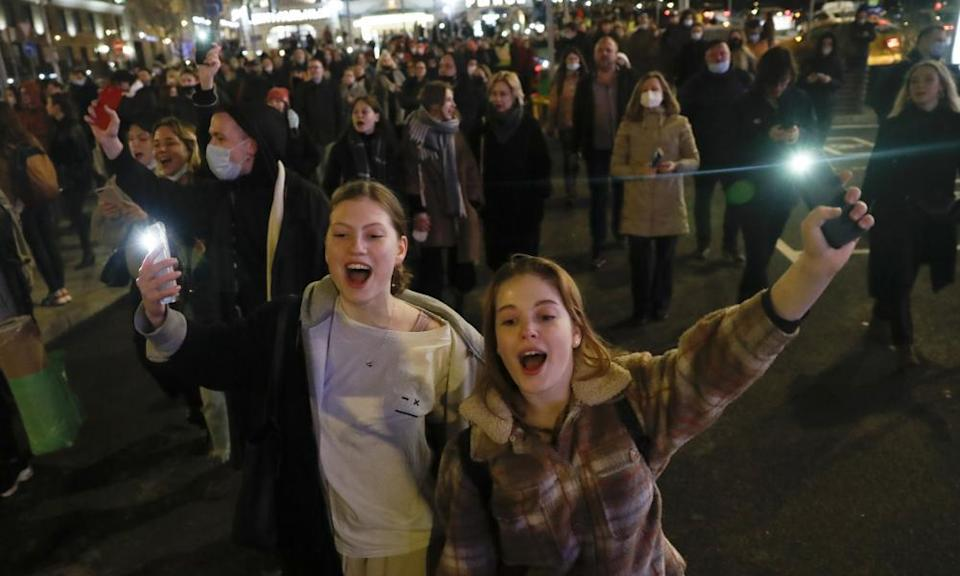 A protest in Moscow in support of jailed opposition leader Alexei Navalny.
