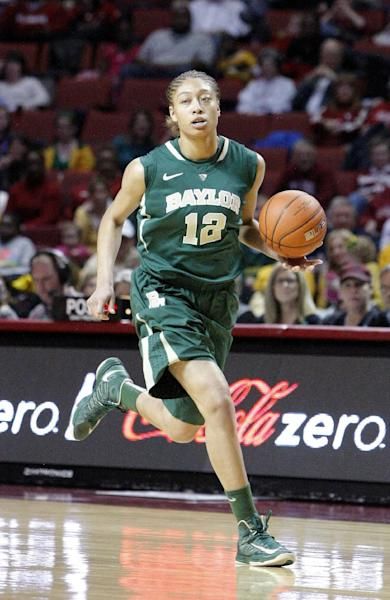 Baylor guard Alexis Prince drives down the court against Oklahoma during the first half of a NCAA Women's basketball game in Norman, Monday, Feb. 25, 2013. (AP Photo/Alonzo Adams)