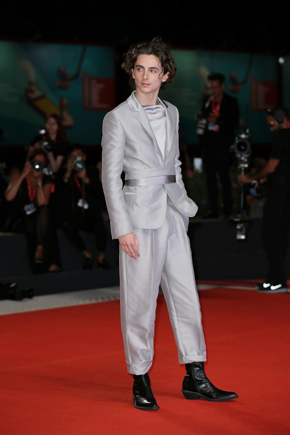 Wearing a Haider Ackermann belted suit. <em>[Photo: Getty]</em>