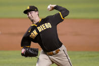 San Diego Padres starting pitcher Blake Snell throws during the second inning of the team's baseball game against the Miami Marlins, Thursday, July 22, 2021, in Miami. (AP Photo/Lynne Sladky)
