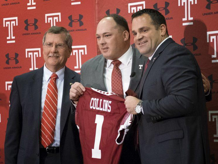 Former Florida DC Geoff Collins (C) is entering his first season as Temple's head coach. (AP)