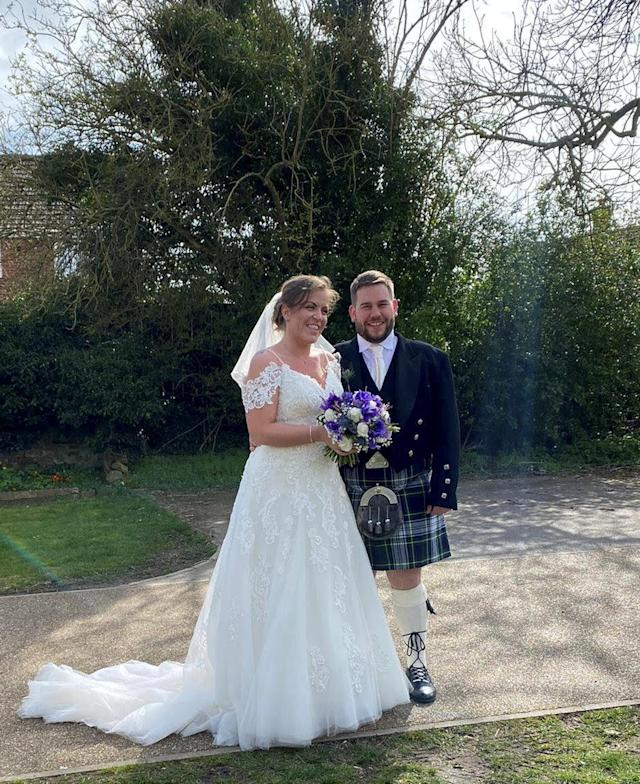 Fiona and Adam Gordon, from Hull, tied the knot last Saturday - but their reception had to be called off (SWNS)