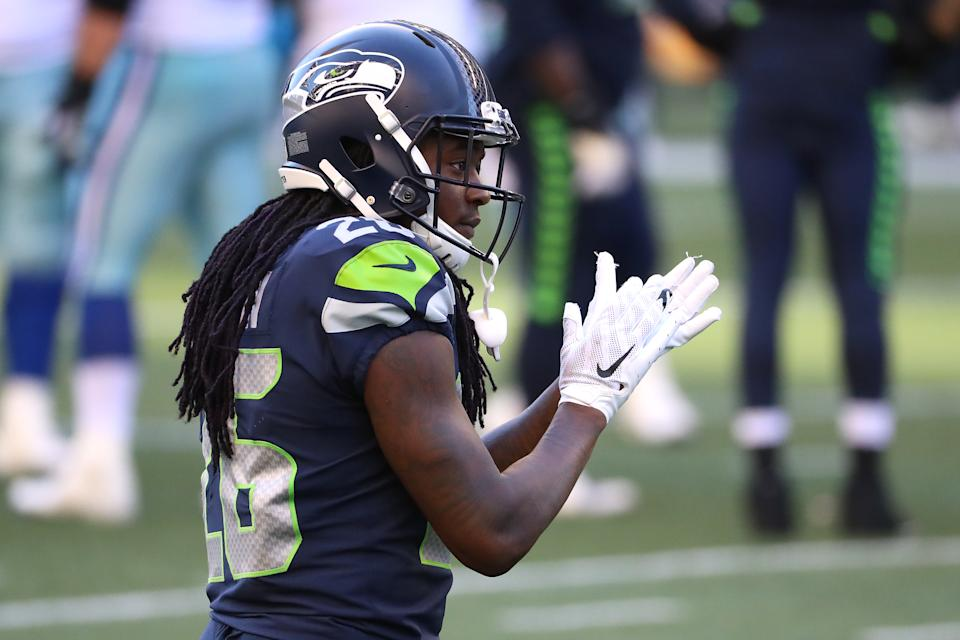 SEATTLE, WASHINGTON - SEPTEMBER 27: Shaquill Griffin #26 of the Seattle Seahawks reacts in the fourth quarter against the Dallas Cowboys at CenturyLink Field on September 27, 2020 in Seattle, Washington. (Photo by Abbie Parr/Getty Images)