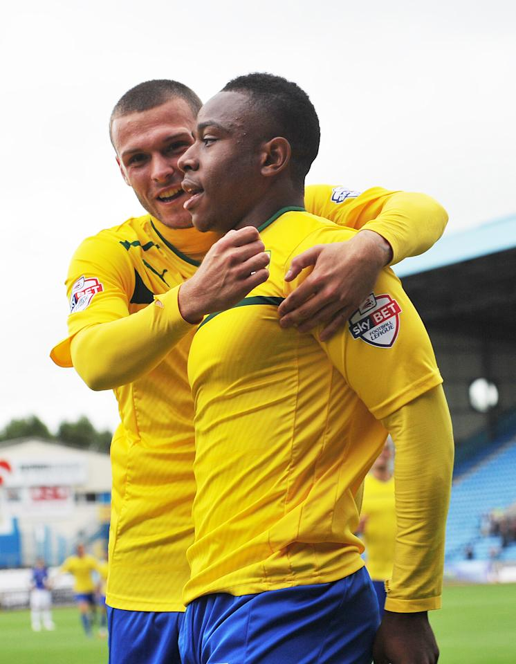 Coventry City's Franck Moussa is congratulated on scoring his team's second goal during the Sky Bet Football League One match at Brunton Park, Carlisle.