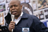 FILE — In this March 24, 2021, file photo, Eric Adams, Brooklyn Borough President and a Democratic mayoral candidate, speaks during a 'I Want My Miracle Back' rally, in the Bronx borough of New York. Adams, a former police officer, is betting that a spike in shootings during the coronavirus pandemic — including a shooting that injured three bystanders in Times Square last weekend — will boost his appeal. (AP Photo/John Minchillo, File)