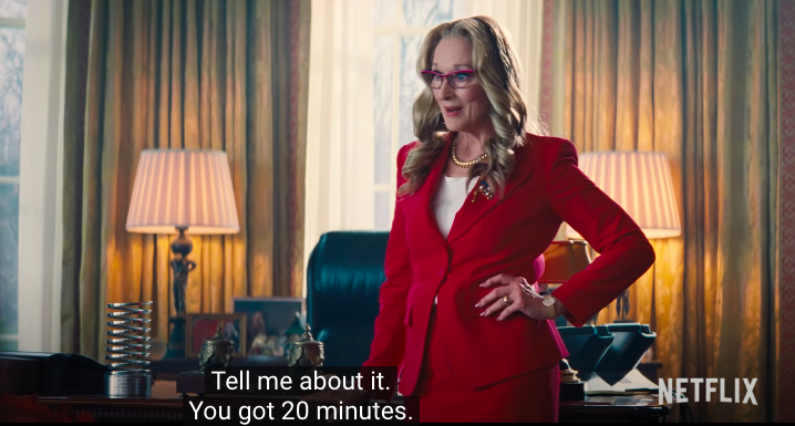 """Meryl with her hand on her hip with the caption, """"Tell me about it. You got 20 minutes"""""""